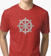 Dharma wheel silver Tri-blend T-Shirt