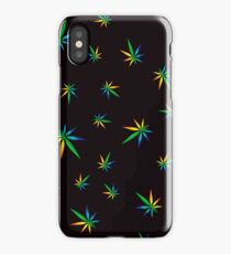 Colorful Cannabis Leaves Seamless Pattern on Black Background iPhone Case/Skin