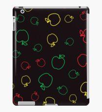 Colorful Fresh Apple Seamless Pattern on Black Background iPad Case/Skin