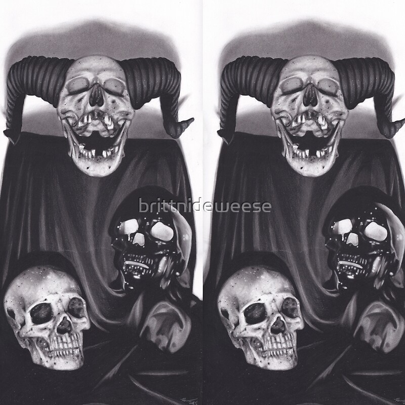 realism charcoal drawing of devil skull black skull and human skull