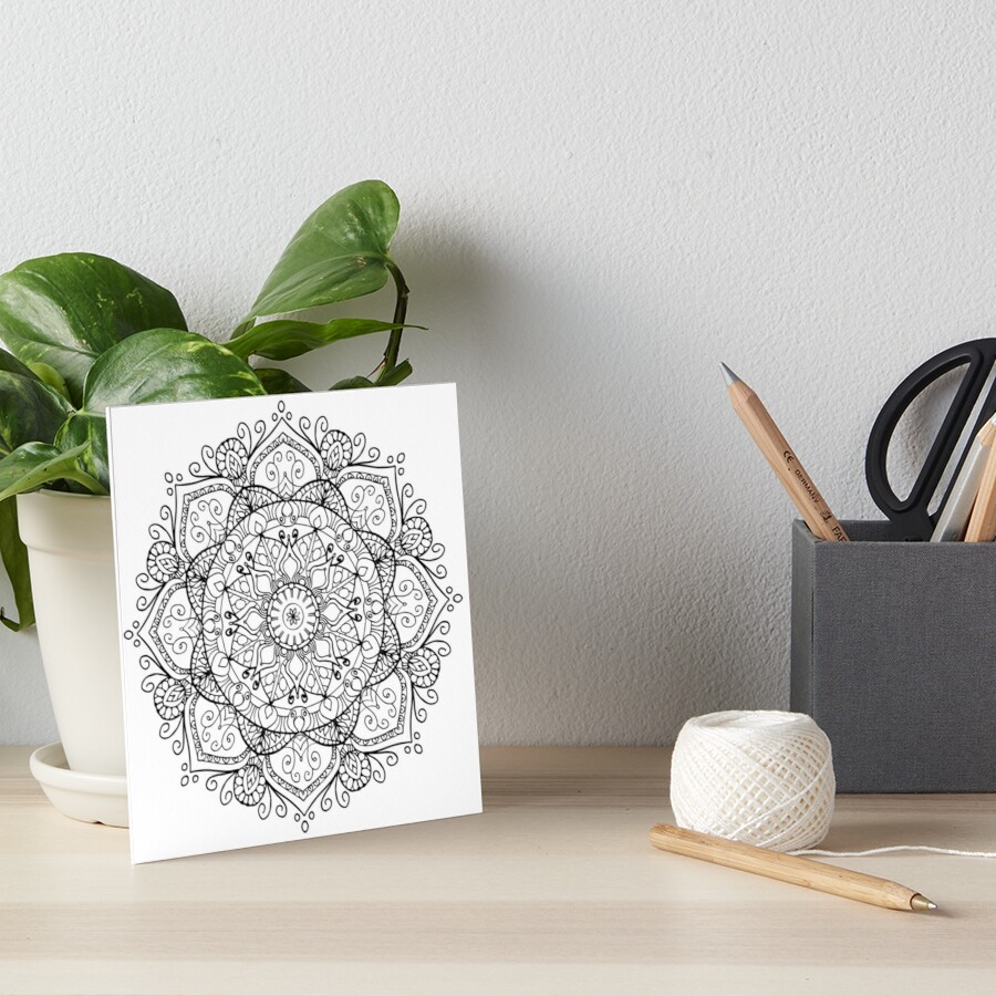 Black and White Mandala Art Board Print