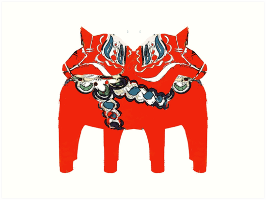 Schwedische Dala Pferdegeschenke und -kleid von Ginny Luttrell