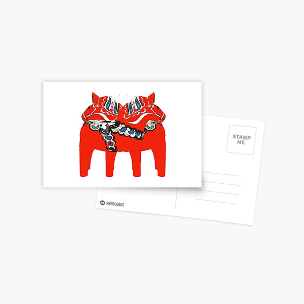 Schwedische Dala Pferdegeschenke und -kleid Postkarte