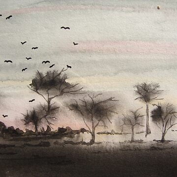 A Windy Day wet in wet painting by pollywolly
