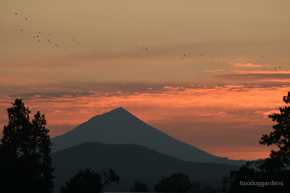 Rising Mount McLoughlin by twodoggardens