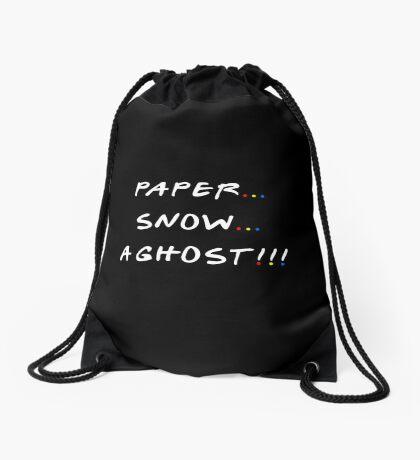 Paper... Snow... A ghost!!! Drawstring Bag