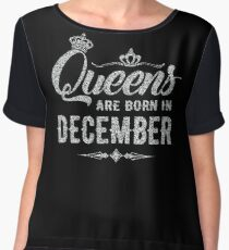 Queens are born in December Cute Gift Silver Women's Chiffon Top