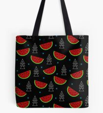 Tropical mosaic watermelon design on black background Tote Bag