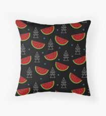 Tropical mosaic watermelon design on black background Throw Pillow