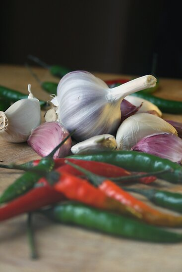 Garlic and chillies by borstal