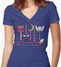 Choose your wand Women's Fitted V-Neck T-Shirt