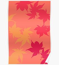 Pink Autumn Maple leaves Poster