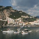 View of Amalfi Italy under the mountains and the bay by Ilan Cohen