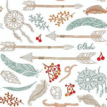 Hand-drawn pattern in boho style by genevskayamariy