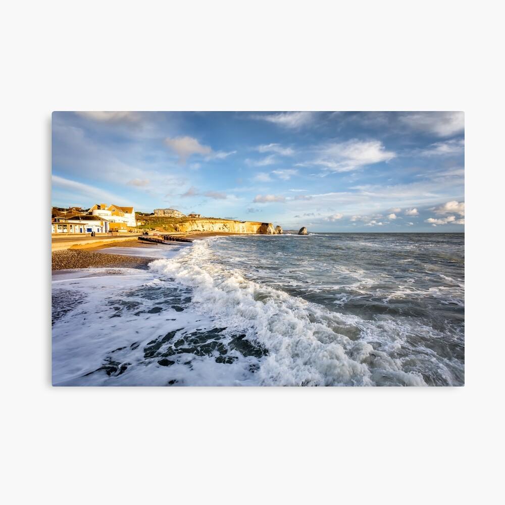 Freshwater Bay Beach Isle Of Wight Metal Print