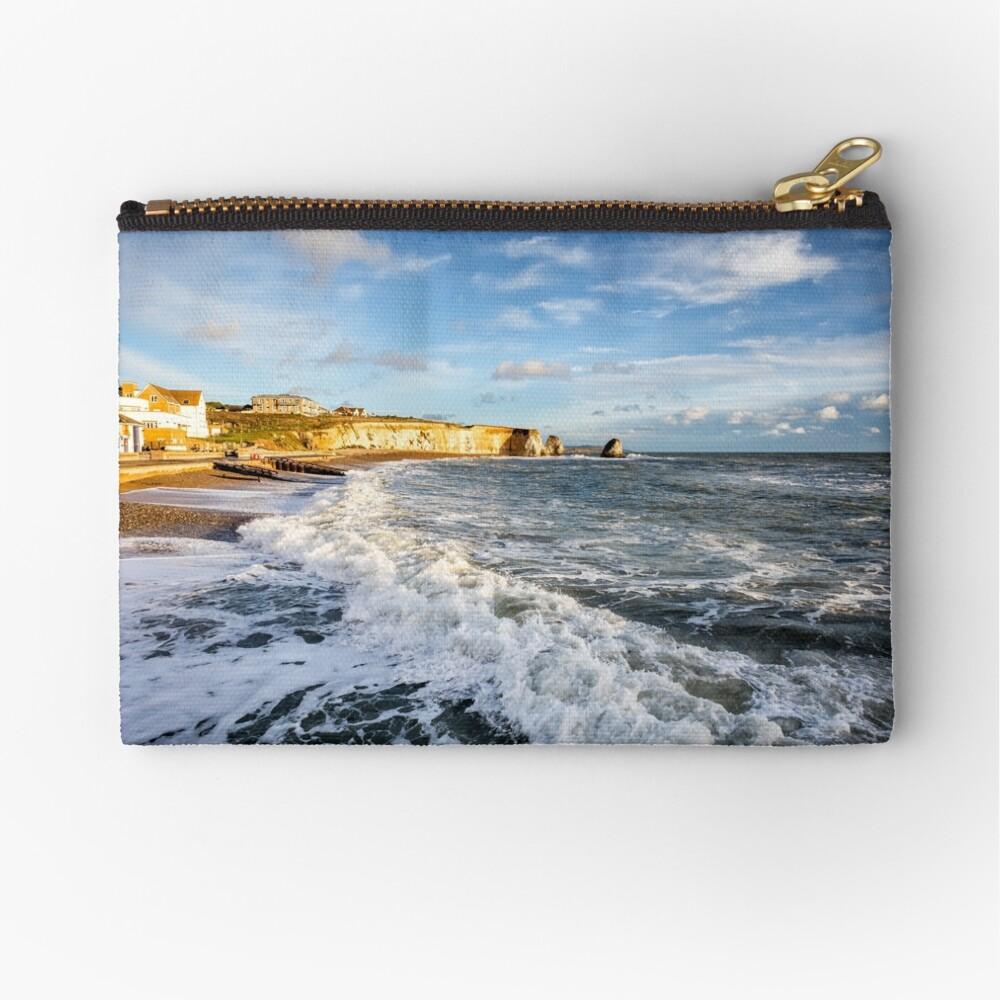 Freshwater Bay Beach Isle Of Wight Zipper Pouch