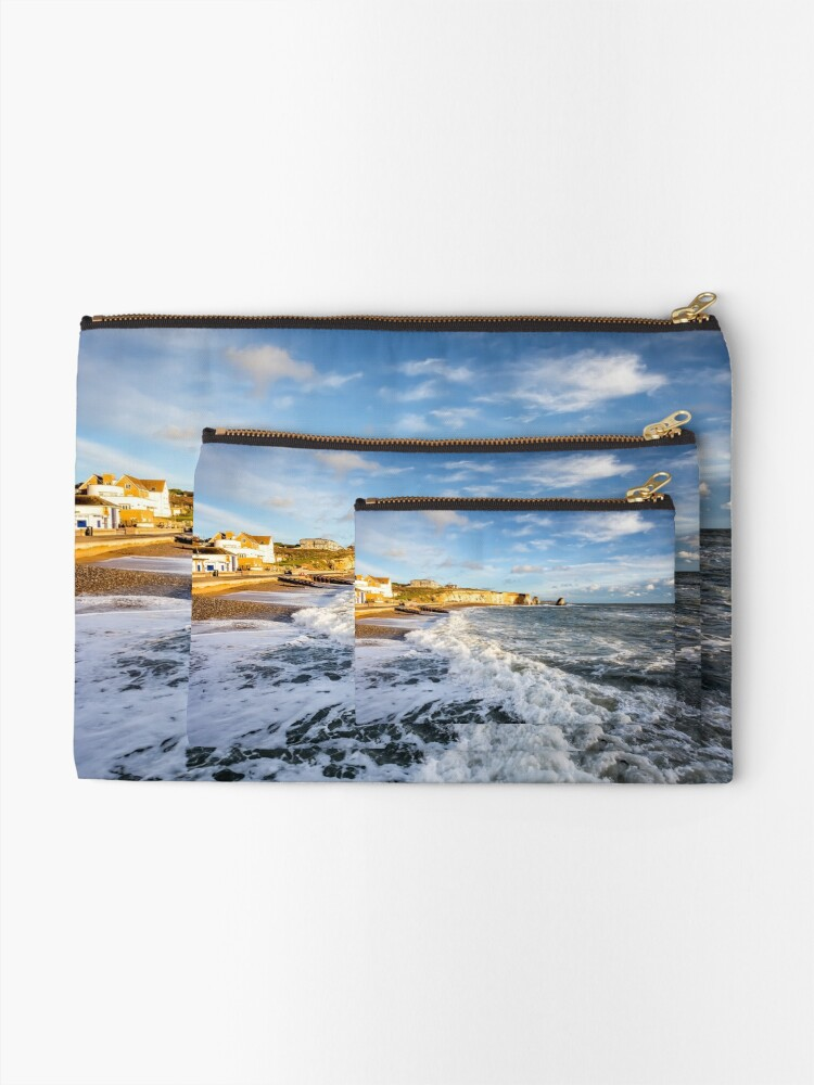 Alternate view of Freshwater Bay Beach Isle Of Wight Zipper Pouch