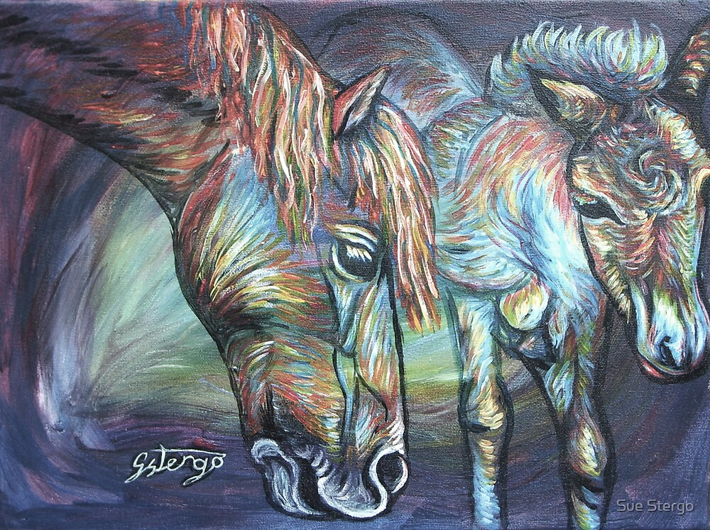 Mother and Foal by Sue Stergo