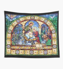Stained Glass Nativity Wall Tapestry