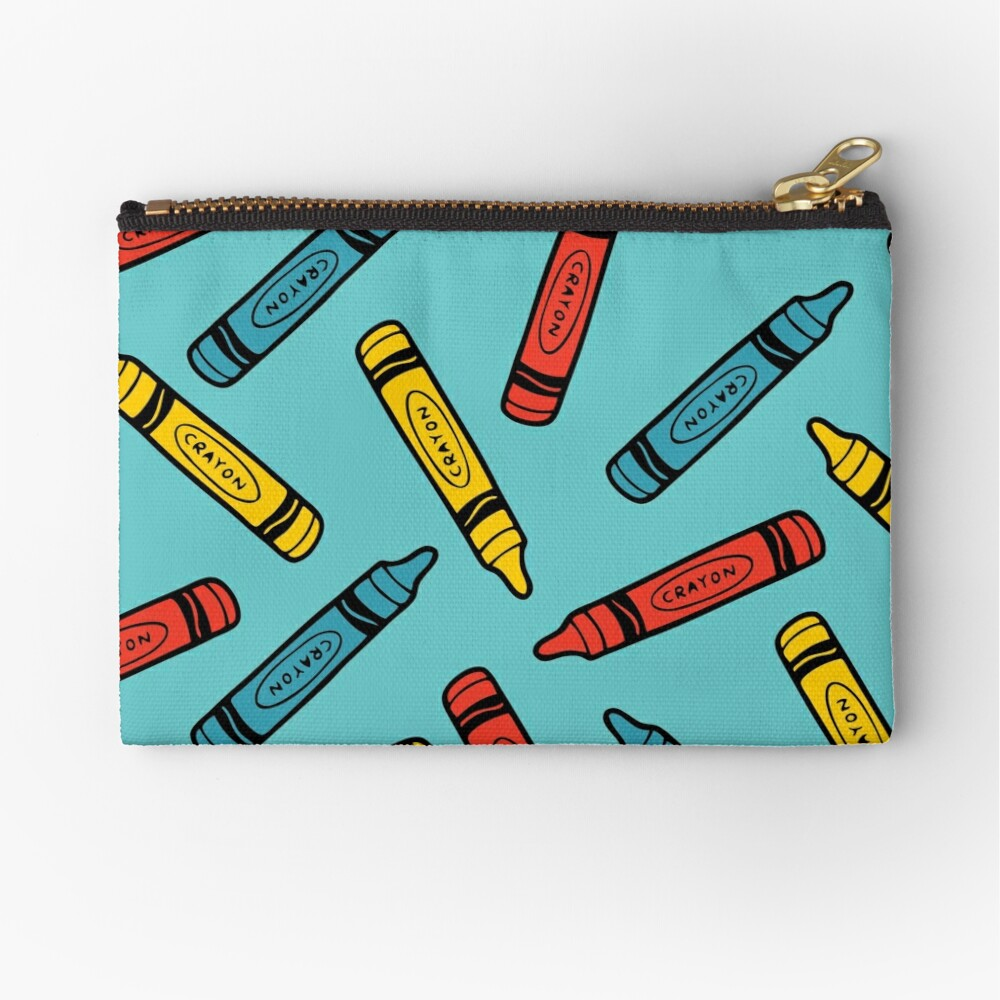 Crayons on Blue Pattern Zipper Pouch