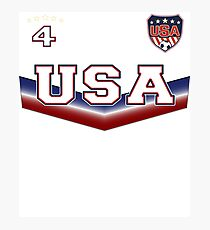 USA Soccer T shirt with Number 4 Photographic Print