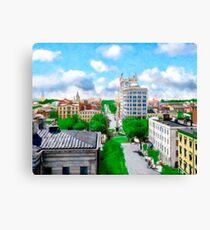 Historic Savannah - Vintage View Over Johnson Square Canvas Print