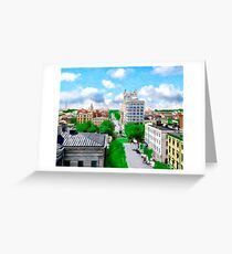 Historic Savannah - Vintage View Over Johnson Square Greeting Card