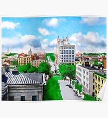 Historic Savannah - Vintage View Over Johnson Square Poster