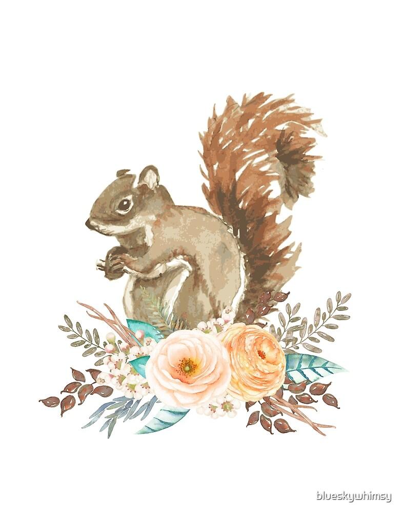 Woodland Floral Squirrel  by blueskywhimsy