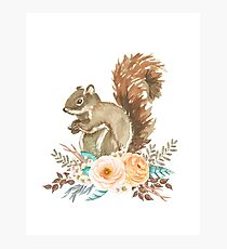 Woodland Floral Squirrel  Photographic Print