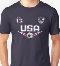 USA Fußball T-Shirt mit Nummer 13 Slim Fit T-Shirt