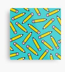 Pencil Power Blue Pattern Metal Print