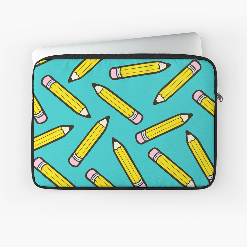 Pencil Power Blue Pattern Laptop Sleeve