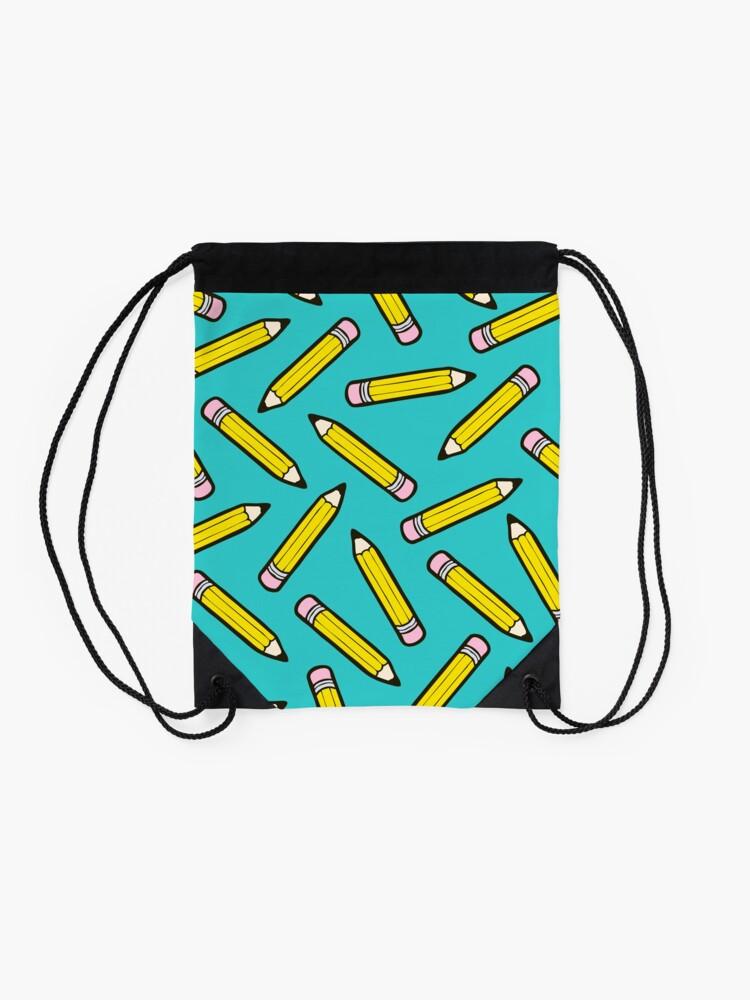 Alternate view of Pencil Power Blue Pattern Drawstring Bag