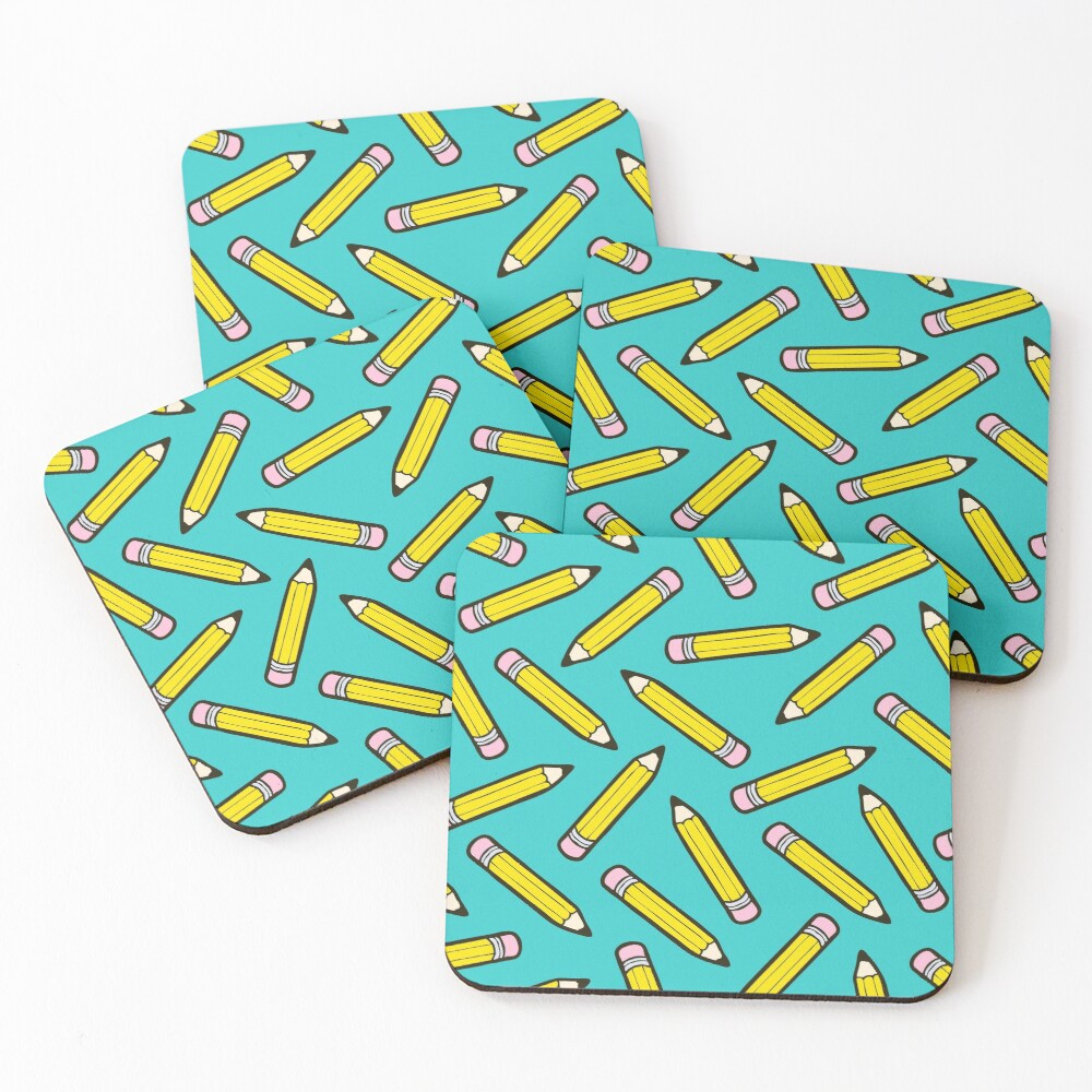 Pencil Power Blue Pattern Coasters (Set of 4)