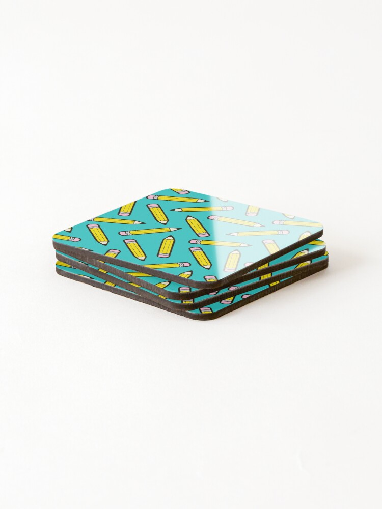 Alternate view of Pencil Power Blue Pattern Coasters (Set of 4)