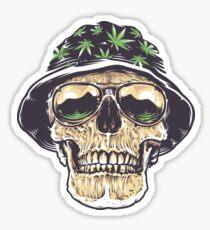 Weed Stoner Skull Sticker