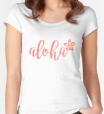 Aloha Hawaii Plumeria Watercolor Floral Women's Fitted Scoop T-Shirt