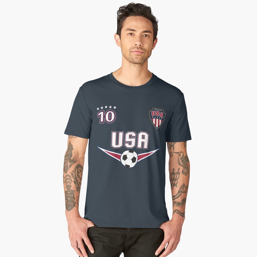 USA Soccer T shirt with Number 10 Men's Premium T-Shirt Front
