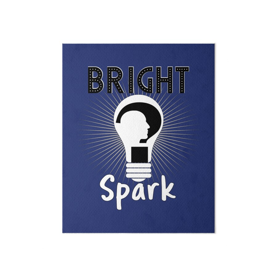 Bright spark funny light bulb head design art boards by artification redbubble - Add spark wall art picture lights ...