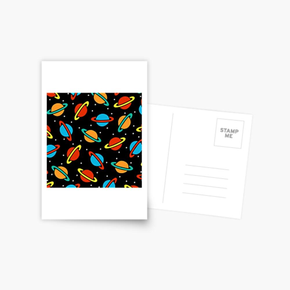 Space Planets Pattern Postcard