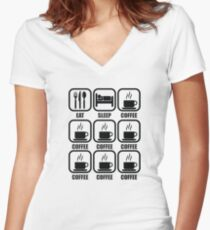 Eat. Sleep. Coffee. Coffee. Coffee. Coffee. Coffee. Coffee. Coffee. Women's Fitted V-Neck T-Shirt