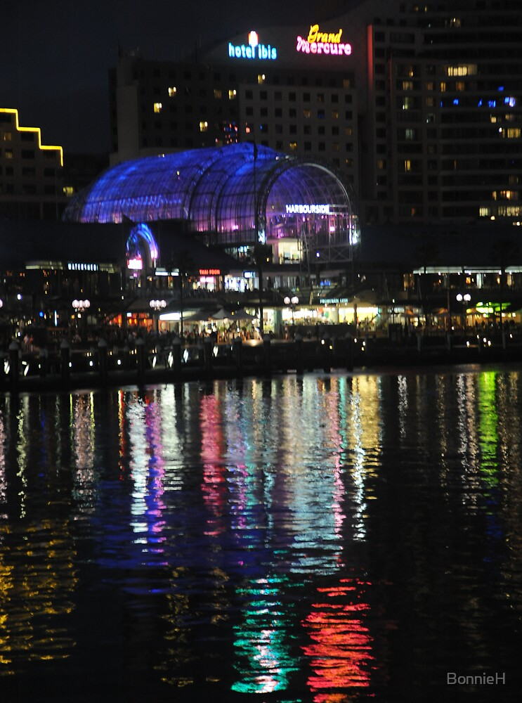 Reflected lights at Darling Harbour by BonnieH