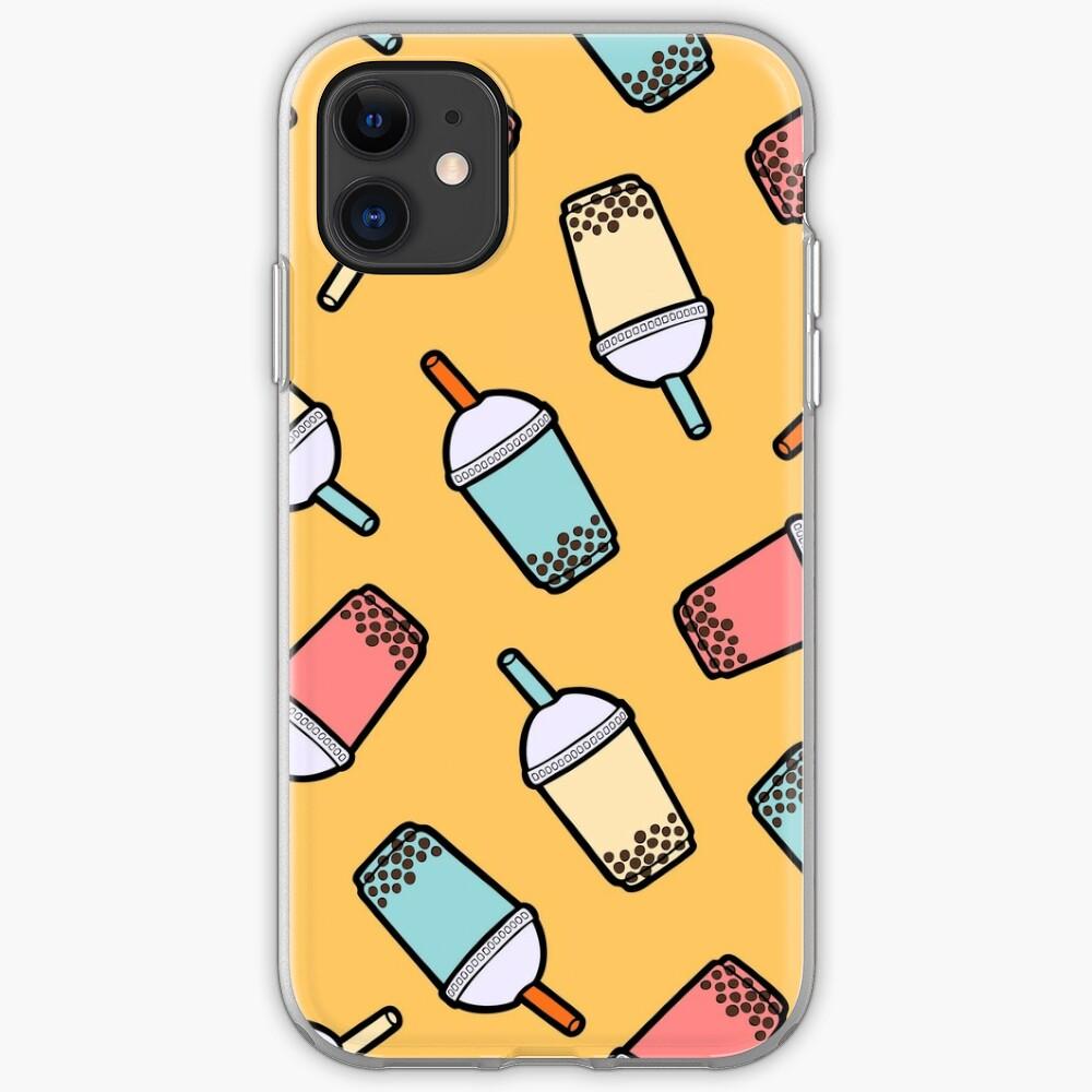 Bubble Tea Pattern iPhone Soft Case