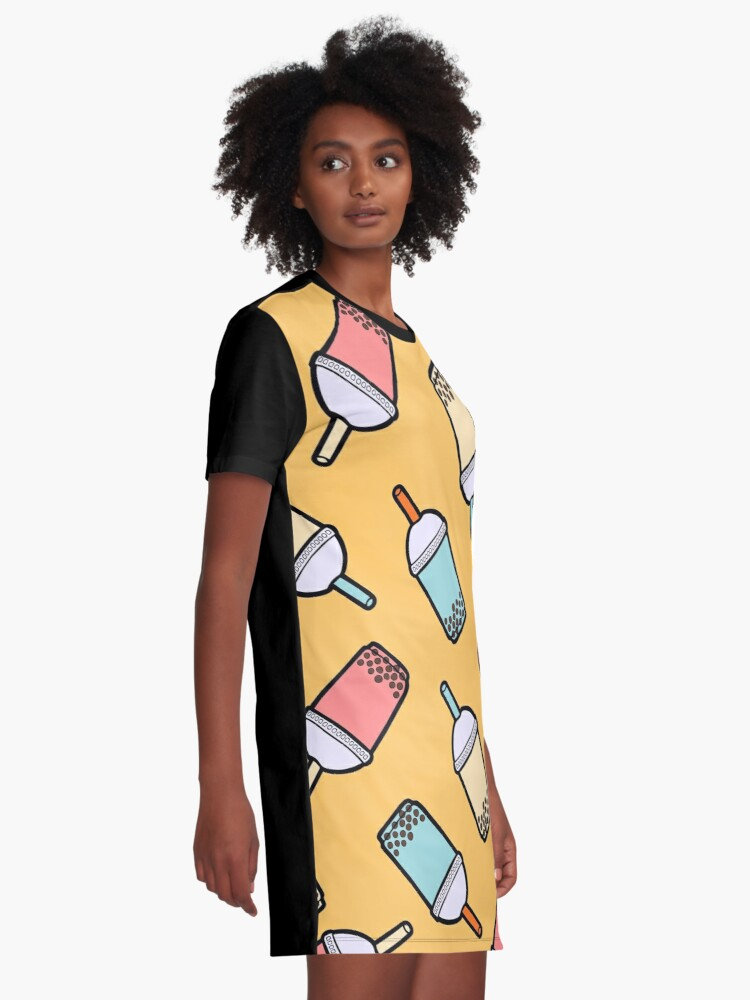 Alternate view of Bubble Tea Pattern Graphic T-Shirt Dress