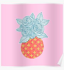 Flower Vase on Millennial Pink Poster