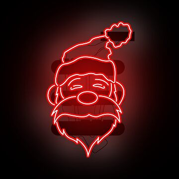 Neon Santa Claus - Merry Christmas! Red by Wavelordsunited