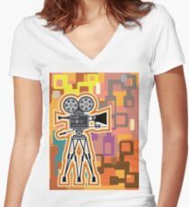 Abstract Camera Women's Fitted V-Neck T-Shirt