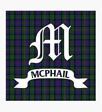 McPhail Hunting Tartan with Clan Name Photographic Print