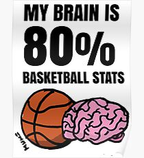 My Brain is 80% Basketball Stats Poster